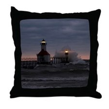 St Joe North Pier Lighthouses Throw Pillow