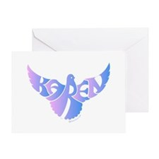 Karen (Blue and Pink Bird) Greeting Card