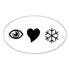 Eye Love Snow Oval Decal