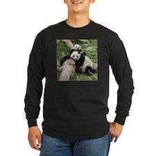 Mom & Baby Giant Pandas Long Sleeve Dark T-Shirt