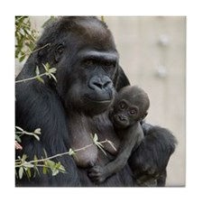 Mom and Baby Gorilla Tile Coaster