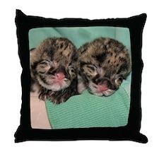 Clouded Leopard Cubs Throw Pillow