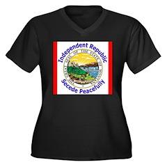 Montana-5 Women's Plus Size V-Neck Dark T-Shirt