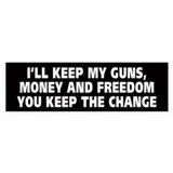 Guns Money And Freedom BumperBumper Sticker