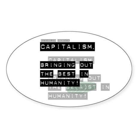 Capitalism-Green Beast Oval Sticker