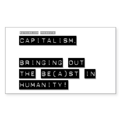 Capitalism is Evil Rectangle Sticker