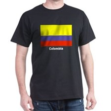 Colombia Colombian Flag (Front) Black T-Shirt