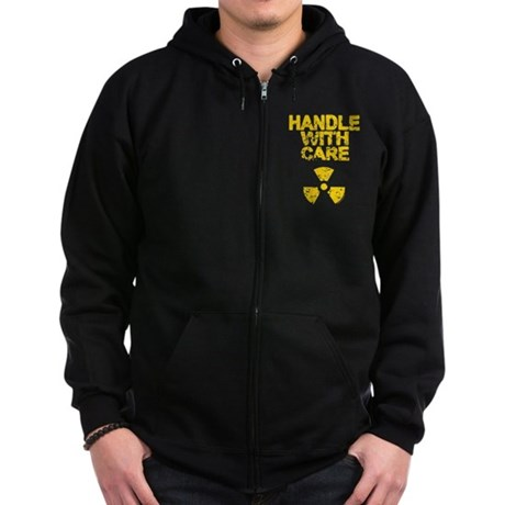 Handle WIth Care Black Zip Dark Hoodie