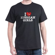 I Love Russian Girls Black T-Shirt