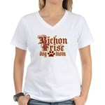 Bichon Frise Mom Women's V-Neck T-Shirt