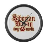 Siberian Husky Mom Large Wall Clock