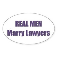 Real Men Marry Lawyers Oval Sticker (10 pk)