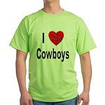 I Love Cowboys Green T-Shirt
