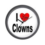 I Love Clowns Wall Clock