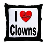 I Love Clowns Throw Pillow