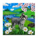 SCHNAUZER DOG SPRING RIVER Tile Coaster