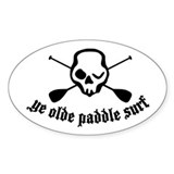 Ye Olde Paddle Surf White Oval Decal