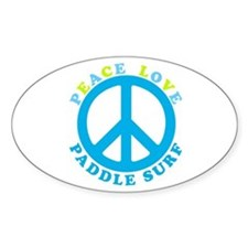 Peace Love Paddle Surf Oval Decal