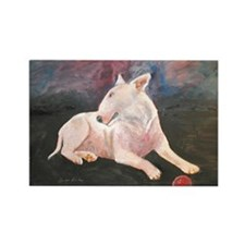 """Red Ball 2"" a Bull Terrier Rectangle Magnet"