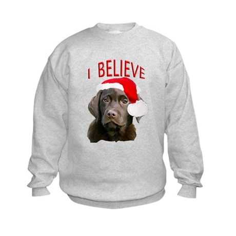 Chocolate Lab Christmas Puppy Kids Sweatshirt