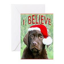 Chocolate Lab Christmas Puppy Greeting Cards (Pk o