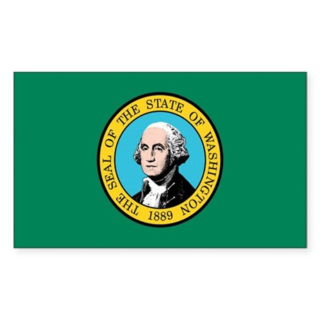 Washington State Flag Rectangle Sticker