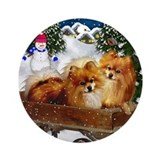 POMERANIAN DOGS SNOWMAN Ornament (Round)