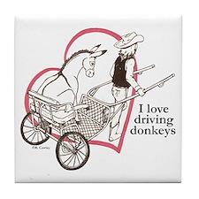 Driving Donkeys Tile Coaster