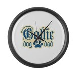 Collie Dad Large Wall Clock