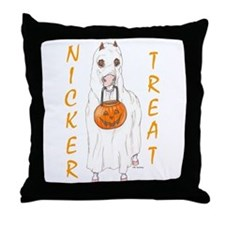 Nicker Treat Orange Throw Pillow