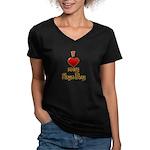 I heart my Hapa Boy Women's V-Neck Dark T-Shirt