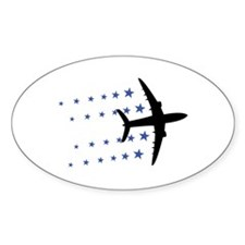 air plane stars Oval Decal