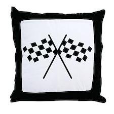 checker flag autorace Throw Pillow