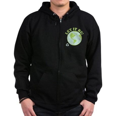 Let It Be Green Recycle Zip Hoodie (dark)