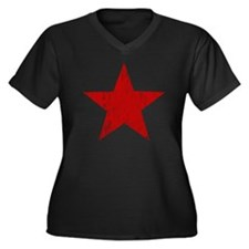 Punk Star Red Women's Plus Size V-Neck Dark T-Shir