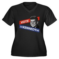 Retro Kennedy 1960 Women's Plus Size V-Neck Dark T