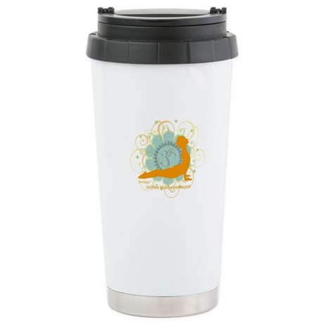 Get it Om. Upward Dog, Yoga P Ceramic Travel Mug