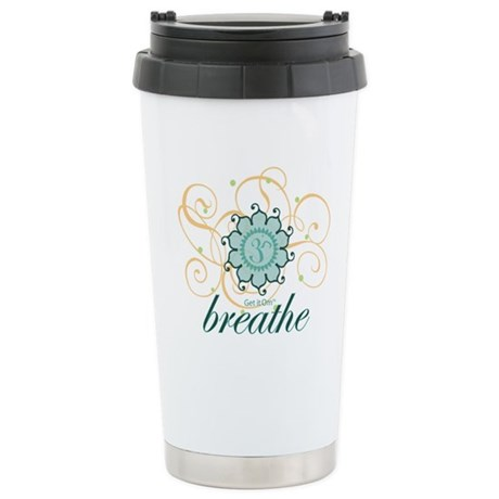 Get it Om. Breathe, Yoga Desi Ceramic Travel Mug