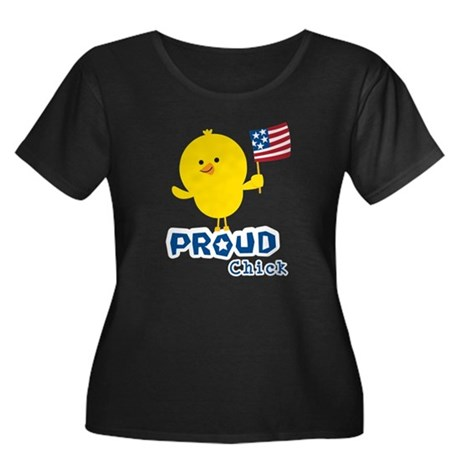 Proud Chick Women's Plus Size Scoop Neck Dark T-Sh