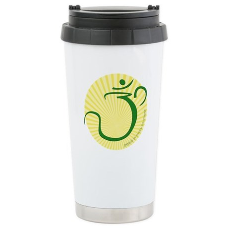 Om with Sunburst. Peace in ev Ceramic Travel Mug