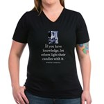 Light candles Women's V-Neck Dark T-Shirt