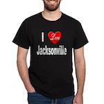 I Love Jacksonville Florida (Front) Black T-Shirt