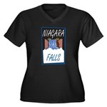 Niagara Falls Women's Plus Size V-Neck Dark T-Shir