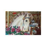Roached &amp; Roses Carousel Hors Rectangle Magnet