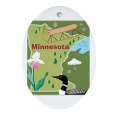 Minnesota Map Oval Ornament