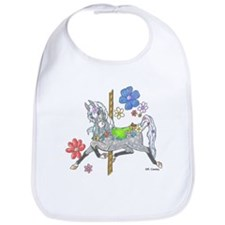 Carousel Horse Flowers Bib