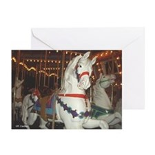 Carousel Horses at night Greeting Cards (Package o