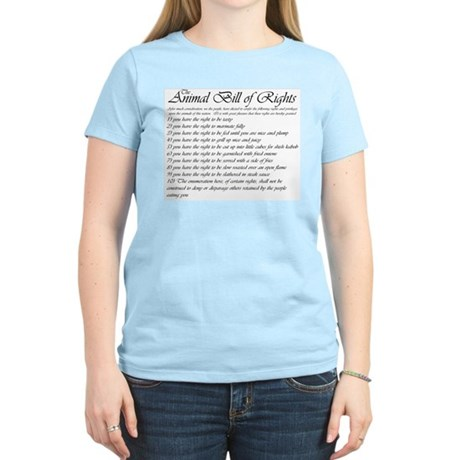 Animal Bill of Rights Women's Pink T-Shirt