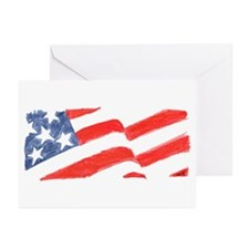 American Flag Drawing Greeting Cards (Pk of 10)