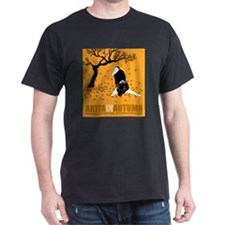 Akita in Autumn Black T-Shirt